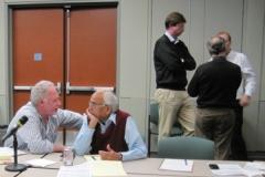 Drs. Michael Keating and Kanti Rai (left); Drs. Andreas Rosenwald, Nicholas Chiorazzi and Jan Burger