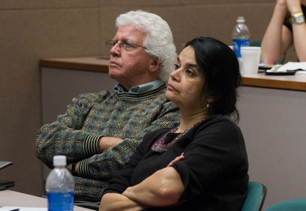 Dr. Bill Plunkett (chair of Scientific Advisory Board) and Dr. Varsha Gandhi (grant recipient)